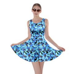 Turquoise Blue Abstract Flower Pattern Skater Dresses