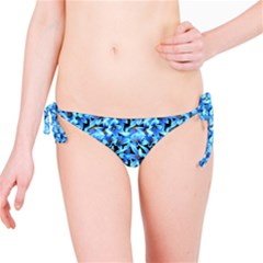 Turquoise Blue Abstract Flower Pattern Bikini Bottoms