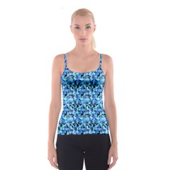 Turquoise Blue Abstract Flower Pattern Spaghetti Strap Tops
