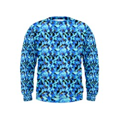 Turquoise Blue Abstract Flower Pattern Boys  Sweatshirts