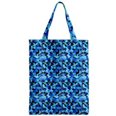 Turquoise Blue Abstract Flower Pattern Zipper Classic Tote Bags