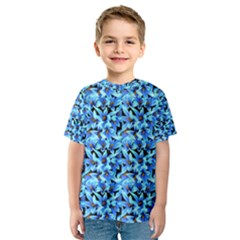 Turquoise Blue Abstract Flower Pattern Kid s Sport Mesh Tees