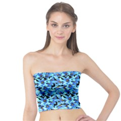 Turquoise Blue Abstract Flower Pattern Women s Tube Tops