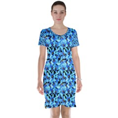 Turquoise Blue Abstract Flower Pattern Short Sleeve Nightdresses
