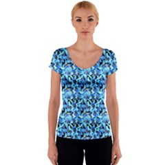 Turquoise Blue Abstract Flower Pattern Women s V-Neck Cap Sleeve Top