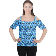 Turquoise Blue Abstract Flower Pattern Women s Cutout Shoulder Tee