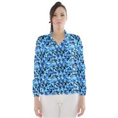 Turquoise Blue Abstract Flower Pattern Wind Breaker (Women)