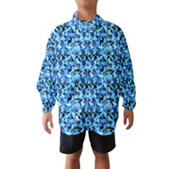 Turquoise Blue Abstract Flower Pattern Wind Breaker (Kids)