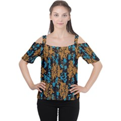 Blue brown texture Women s Cutout Shoulder Tee