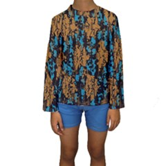 Blue Brown Texture  Kid s Long Sleeve Swimwear
