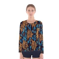 Blue brown texture Women Long Sleeve T-shirt