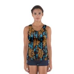 Blue brown texture Women s Sport Tank Top
