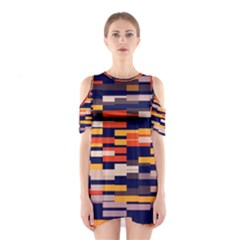 Rectangles in retro colors Women s Cutout Shoulder Dress