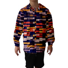 Rectangles In Retro Colors Hooded Wind Breaker (kids)