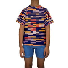 Rectangles in retro colors  Kid s Short Sleeve Swimwear