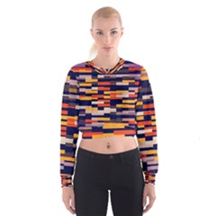 Rectangles in retro colors   Women s Cropped Sweatshirt