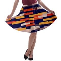 Rectangles in retro colors A-line Skater Skirt
