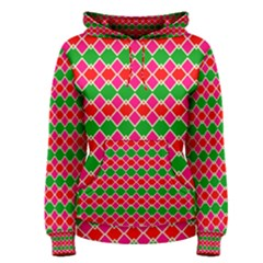 Red pink green rhombus pattern Women s Pullover Hoodie