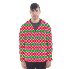 Red pink green rhombus pattern Mesh Lined Wind Breaker (Men)