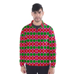 Red Pink Green Rhombus Pattern Wind Breaker (men)