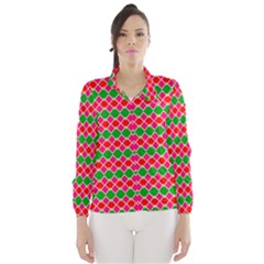 Red pink green rhombus pattern Wind Breaker (Women)