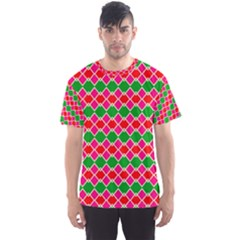 Red pink green rhombus pattern Men s Sport Mesh Tee