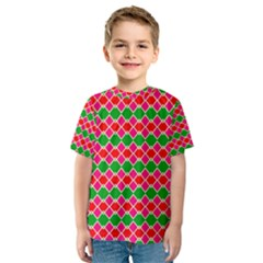 Red pink green rhombus pattern Kid s Sport Mesh Tee