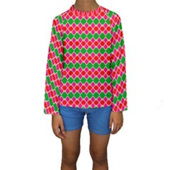 Red pink green rhombus pattern  Kid s Long Sleeve Swimwear