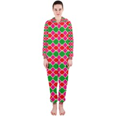 Red pink green rhombus pattern Hooded OnePiece Jumpsuit