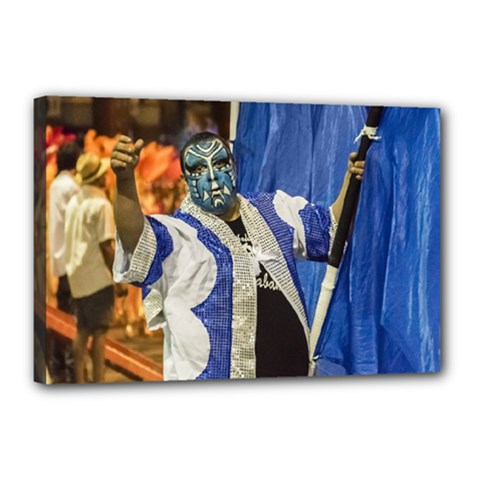 Painted Face Man At Inagural Parade Of Carnival In Montevideo Canvas 18  x 12