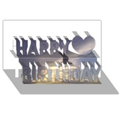 Fly Seagull Happy Birthday 3D Greeting Card (8x4)