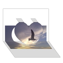 Fly Seagull Heart 3D Greeting Card (7x5)