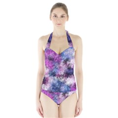 Shabby Floral 2 Women s Halter One Piece Swimsuit