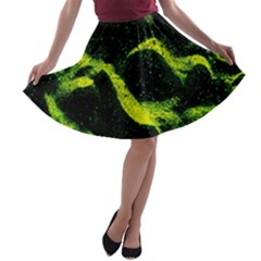Green Northern Lights A-line Skater Skirt