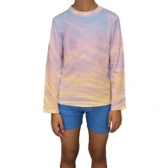 Yellow Blue Pastel Sky Kid s Long Sleeve Swimwear