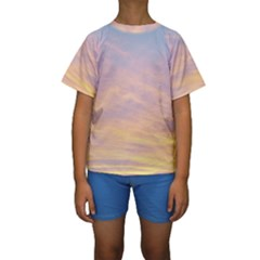 Yellow Blue Pastel Sky Kid s Short Sleeve Swimwear