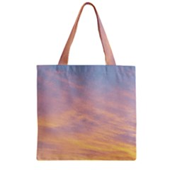 Yellow Blue Pastel Sky Zipper Grocery Tote Bags