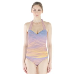 Yellow Blue Pastel Sky Women s Halter One Piece Swimsuit