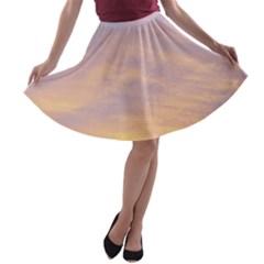 Yellow Blue Pastel Sky A Line Skater Skirt