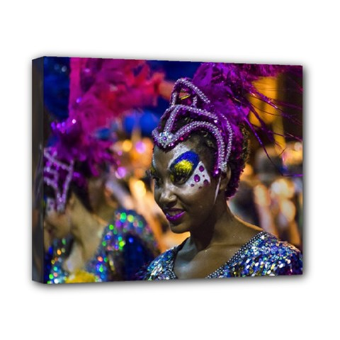 Costumed Attractive Dancer Woman at Carnival Parade of Uruguay Canvas 10  x 8