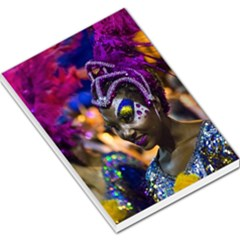 Costumed Attractive Dancer Woman At Carnival Parade Of Uruguay Large Memo Pads