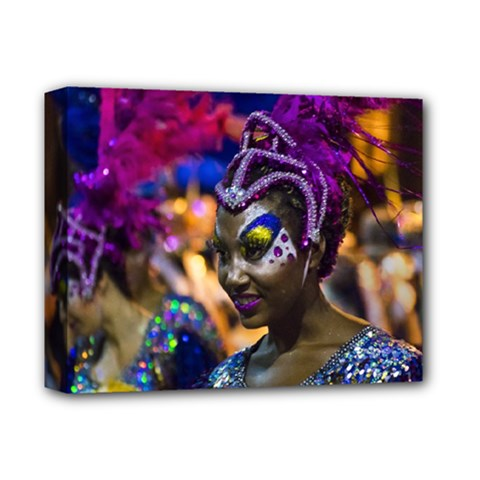 Costumed Attractive Dancer Woman at Carnival Parade of Uruguay Deluxe Canvas 14  x 11