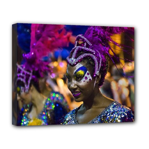 Costumed Attractive Dancer Woman at Carnival Parade of Uruguay Deluxe Canvas 20  x 16