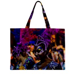 Costumed Attractive Dancer Woman at Carnival Parade of Uruguay Tiny Tote Bags