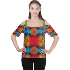 Colorful Goa   Painting Women s Cutout Shoulder Tee