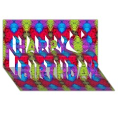 Colorful Painting Goa Pattern Happy Birthday 3D Greeting Card (8x4)