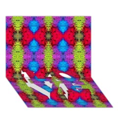 Colorful Painting Goa Pattern LOVE Bottom 3D Greeting Card (7x5)