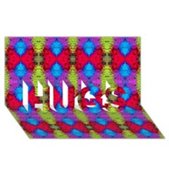 Colorful Painting Goa Pattern HUGS 3D Greeting Card (8x4)