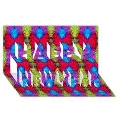 Colorful Painting Goa Pattern Happy New Year 3d Greeting Card (8x4)