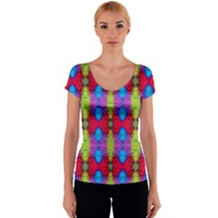 Colorful Painting Goa Pattern Women s V-Neck Cap Sleeve Top
